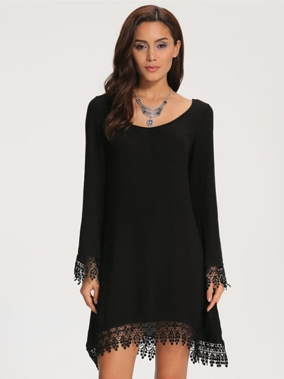 Black Long Sleeve Lace Loose Dress