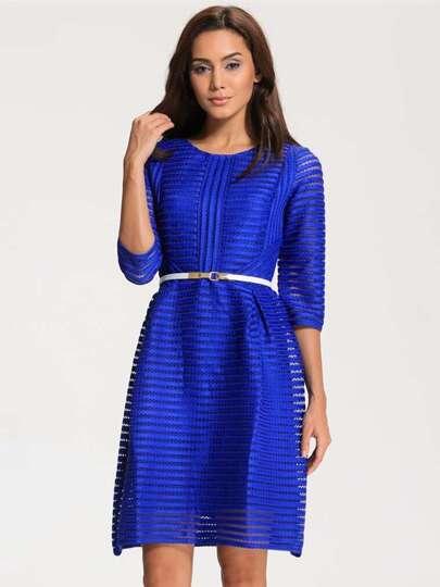 Blue Shutter Half Sleeve Hollow Striped Flare Dress