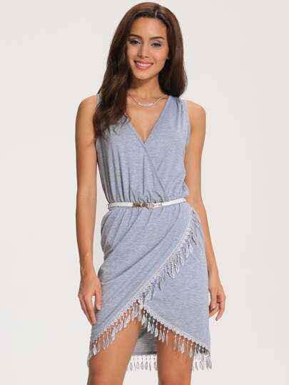 Grey V Neck Sleeveless Tassel Trimmed Chic Petites Dress