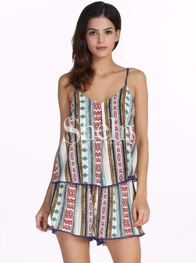 Multicolour Spaghetti Strap Tradition Tribal Print Dress
