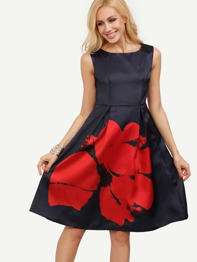 Navy Semiformal Sleeveless Floral Flare Tank Dress Sundress