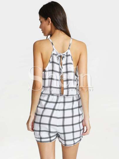 White Spaghetti Strap Plaid Playsuit