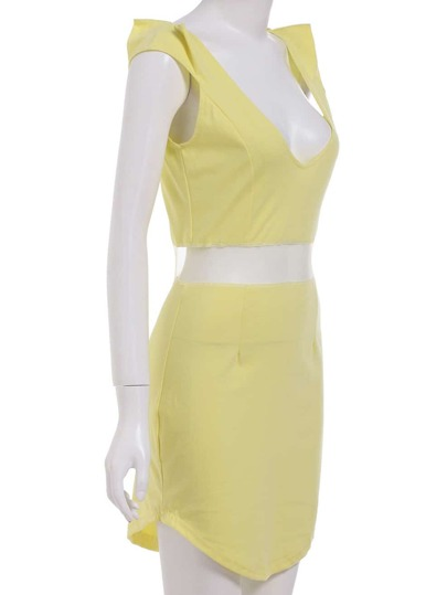 Yellow Lemons Deep Plunge Neck Waist Mesh Bodycon Dress