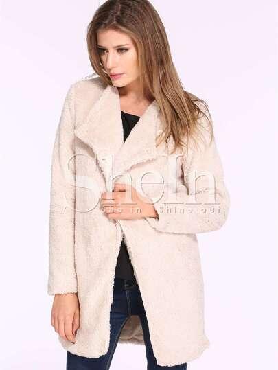 Apricot Long Sleeve Lapel Faux Fur Outerwear