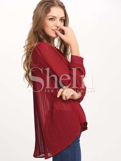 Wine Red Long Sleeve Pleated Back Blouse