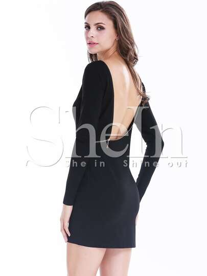 Black Long Sleeve Zipper Backless Bodycon Dress