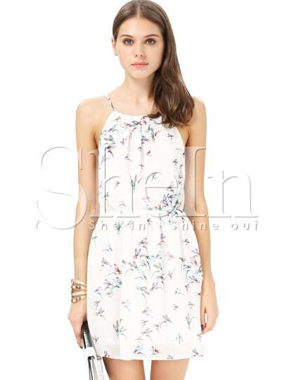 White Spaghetti Strap Birds Print Split Dress