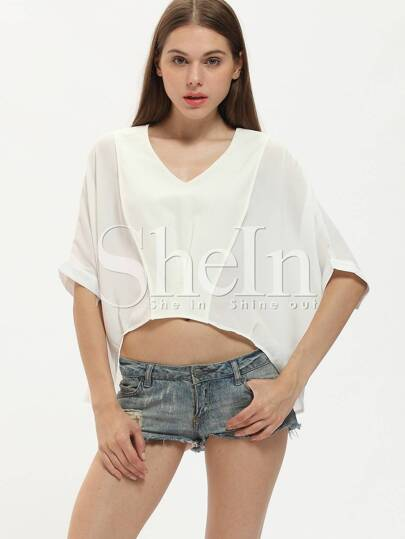 White Batwing Sleeve Loose Blouse