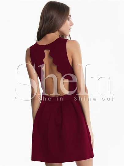 Wine Red Burgundy Raspberry Sleeveless Backless Scalloped Pleated Dress