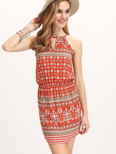 Red Spaghetti Strap Vintage Floral Bodycon Dress