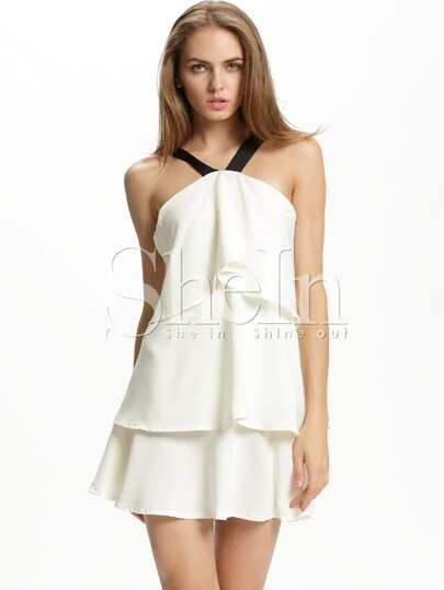 Beige Sleeveless Strap Ruffle Dress