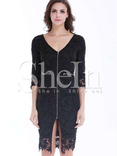 Black Deep V Neck Zipper Embroidered Lace Dress