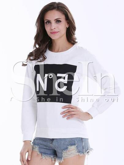 White Long Sleeve Letter Print Loose Sweatshirt
