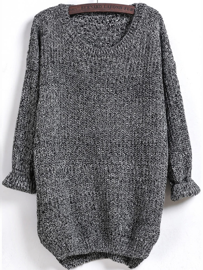 Dipped Hem Long Sleeve Loose Sweater