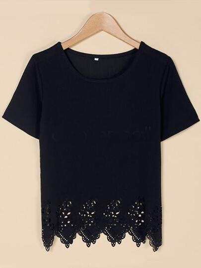 Black Hollow Hem Chiffon Top