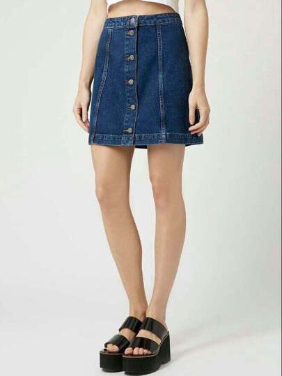 Blue Single-breasted A-Line Denim Skirt