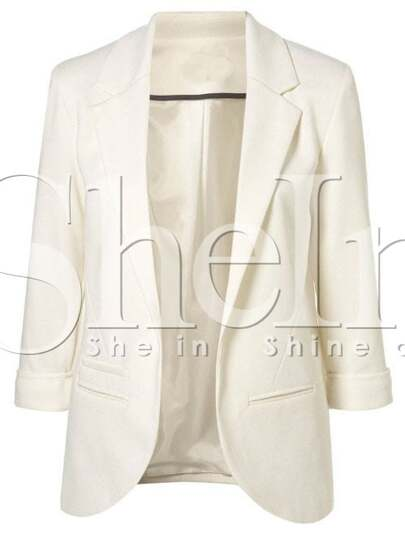 White Boyfriend Ponte Rolled Sleeves Blazer