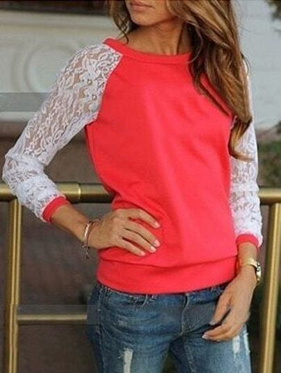 Red Contrast Lace Long Sleeve Loose Sweatshirt