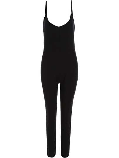 Black Spaghetti Strap Backless Slim Jumpsuit
