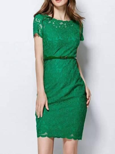 Vestito ricamato maniche corte verde