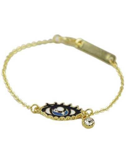 Rhinestone Eye Pendant Gold Plated Bracelet