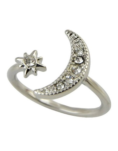 Silver Rhinestone Moon And Star Ring