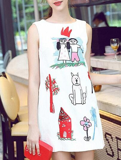 White Round Neck Sleeveless Cartoon Print Dress