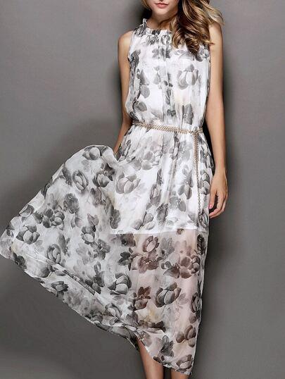 White Sleeveless Floral Print Drawstring Maxi Dress