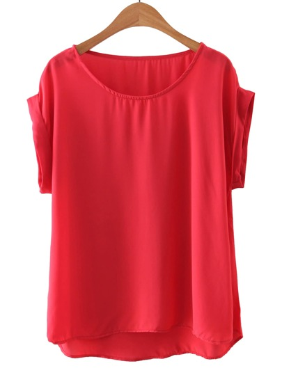 Red Round Neck Short Sleeve Loose Blouse