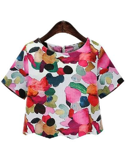 Ikat Neat Awesome Calico Print Crop Blouse