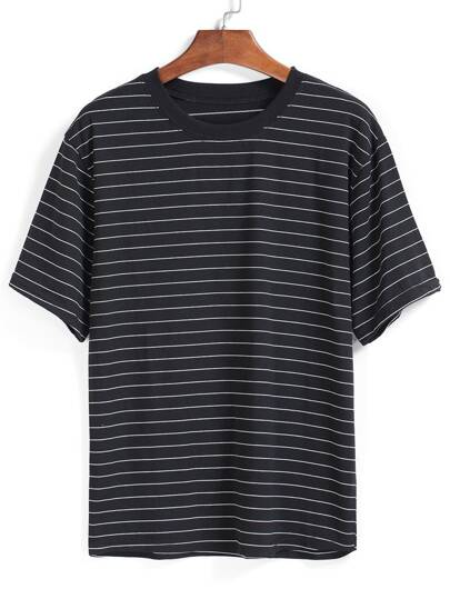 Striped Loose Black T-shirt