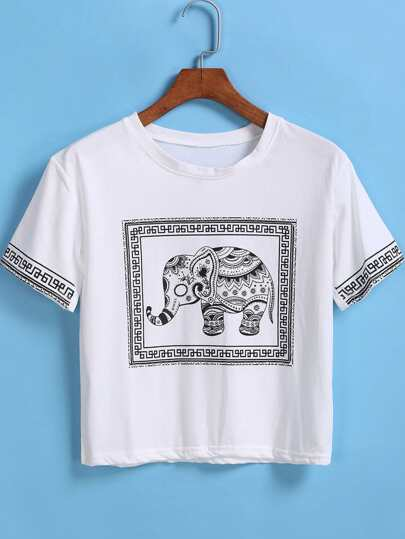 White Short Sleeve Elephant Print Crop T-Shirt