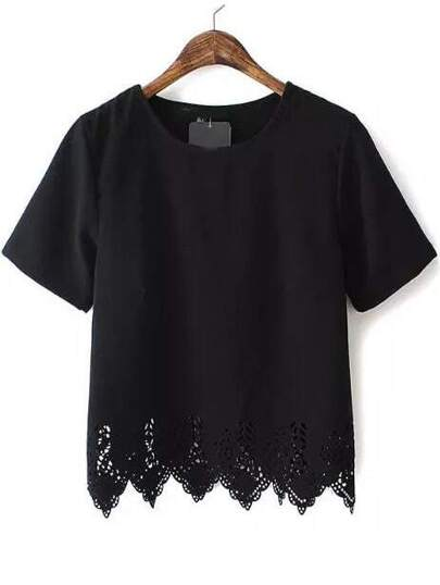 Black Short Sleeve Lace Hem Chiffon Blouse