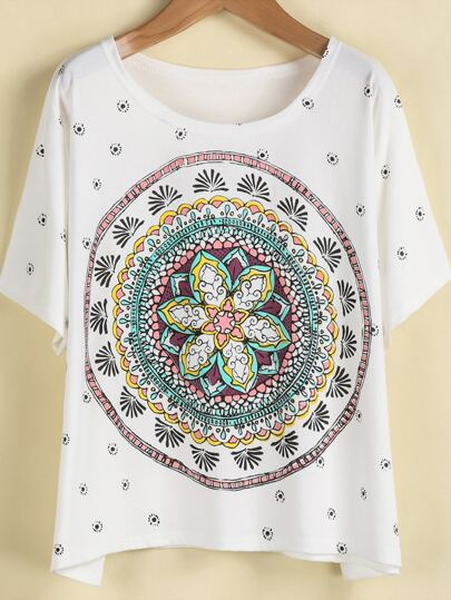 White Short Sleeve Vintage Floral Loose T-Shirt