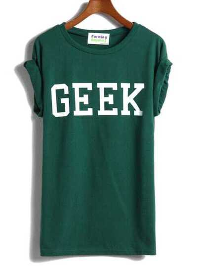 Rolled Sleeves GEEK Print T-shirt