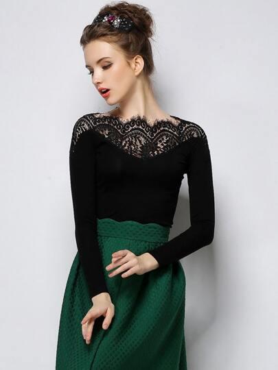 Black Long Sleeve Contrast Lace Collar T-Shirt