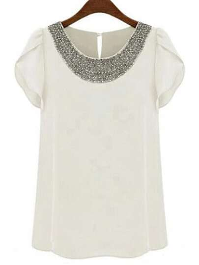 White Round Neck With Bead Chiffon Blouse