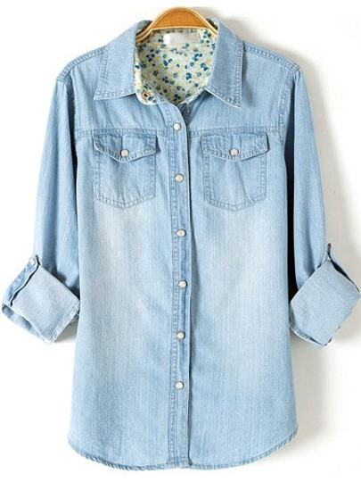 Light Blue Lapel Long Sleeve Boyfriend Trends Jean Swish Bleached Denim Blouse