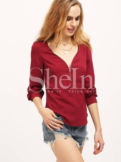 Wine Red V Neck Long Sleeve Zipper Top
