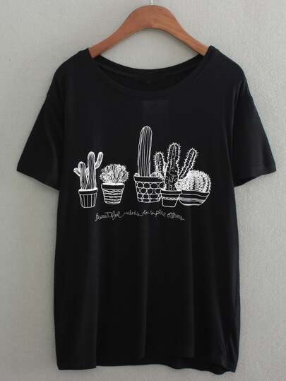 Black Short Sleeve Cactus Embroidered T-Shirt