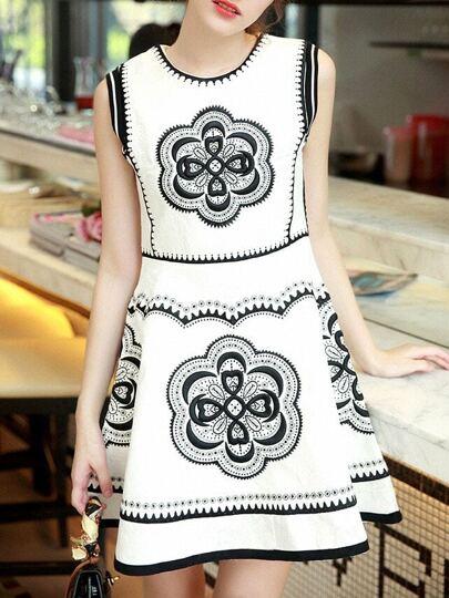White Round Neck Sleeveless Embroidered Flare Dress