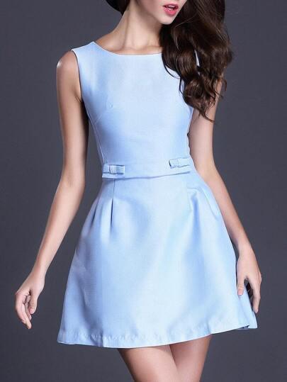 Blue Round Neck Sleeveless Backless Flare Dress