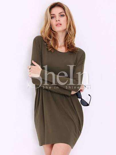 Green Long Sleeve Minimalist Simple Classical Casual Dress