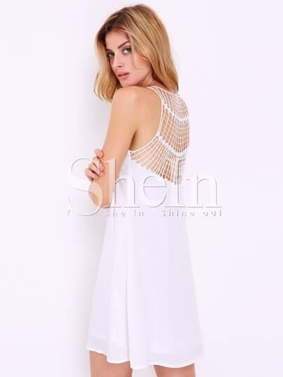 White Sleeveless V Neck Hollow Dress