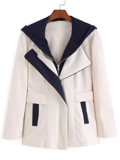 Apricot Contrast Hooded Zipper Detachable Lapel Coat