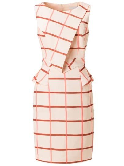 robe plaid sans manche -orange