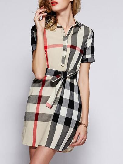 Beige Lapel Short Sleeve Check Drawstring Dress