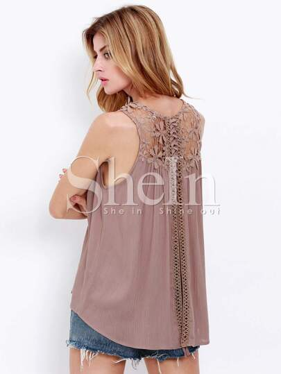 Light Coffee Sleeveless With Crochet Lace Tank Top