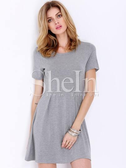 Grey Short Sleeve Casual Dress