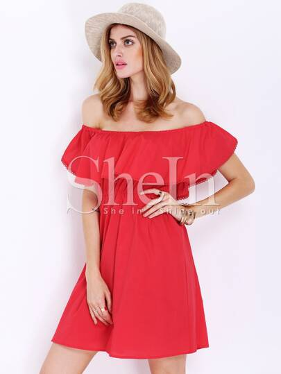Red Off The Shoulder Frills Wrinkle Ruffle Dress